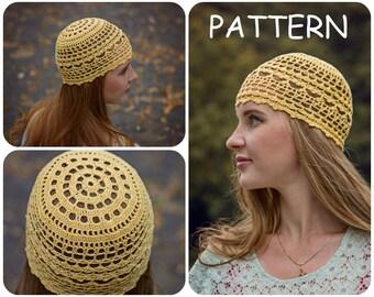 Summer Crochet Beanie Pattern - DIY Crochet Hat For Women - Womens Hat  Pattern - DIY Lace Crochet Hat Pattern - Cotton Boho Hats Pattern 951e10df4af