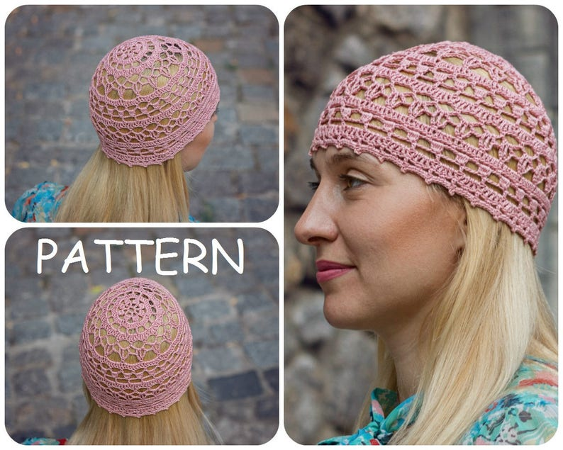 5e0dc69d0d4 Crochet Pattern Hat For Summer Womens Crochet Lace Beanie