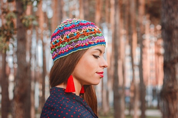 Hippie-gehäkelte Mütze Frauen bunte Beanie Mandala häkeln | Etsy
