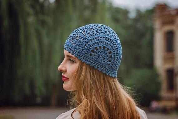 Lace Blue Crochet Women s Hat Summer Cotton Beanie   Etsy 8e678e2ee0e