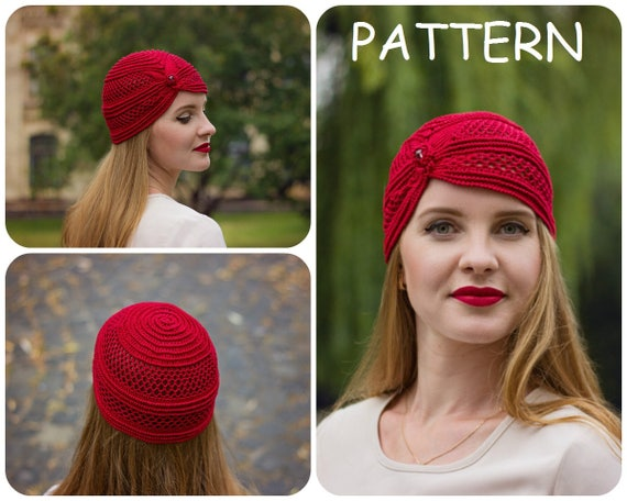 Crochet Pattern Beanie Hat With Bead Crochet Pattern Lace Etsy