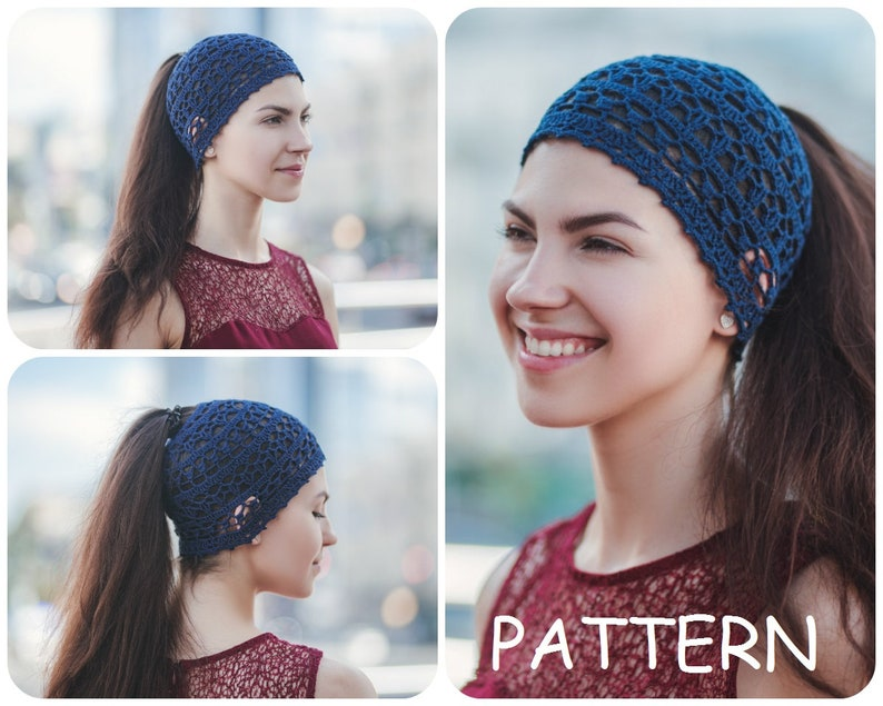 0cfcf5ec5f6 Messy Bun Crochet Pattern Lacy Hat For Summer DIY Womens