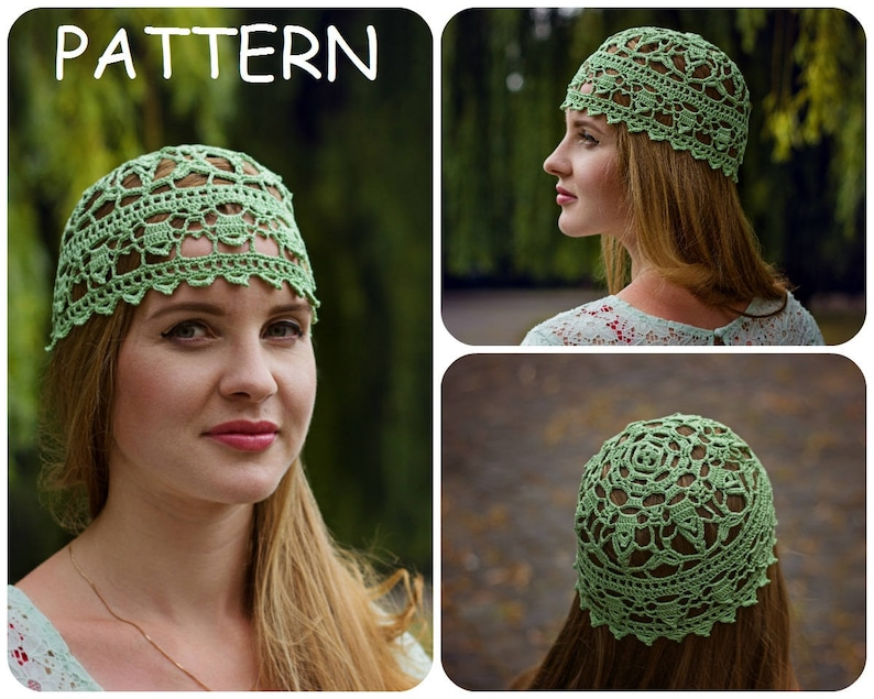 06829c92742 Lace Crochet Hat Pattern DIY Crocheters Gift Womens Hat