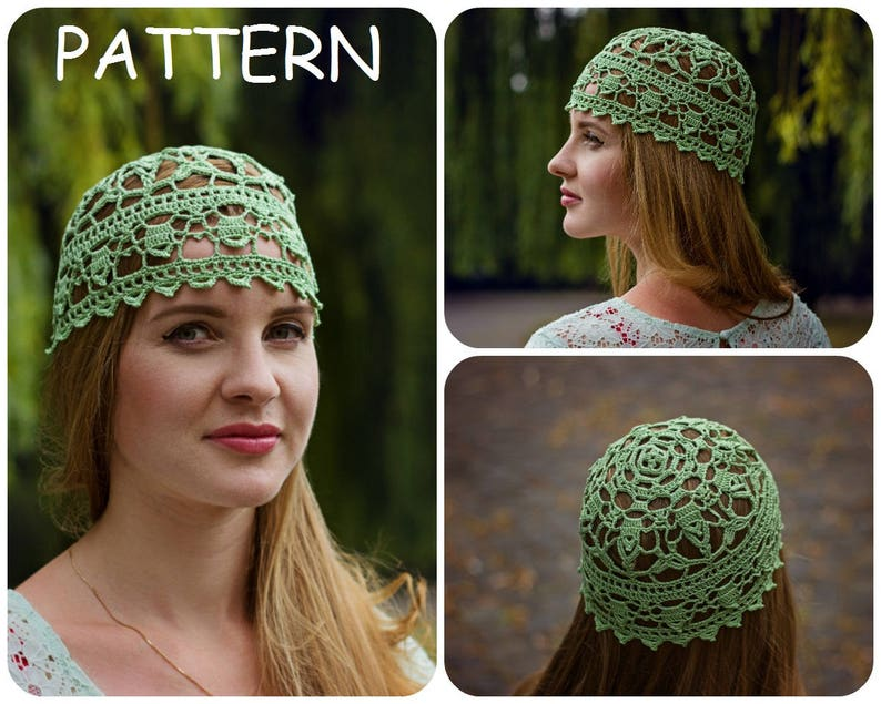 c7047e26a21 Lace Crochet Hat Pattern DIY Crocheters Gift Womens Hat