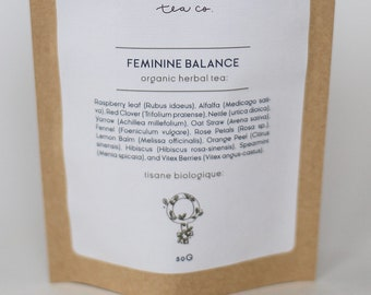 Feminine Balance herbal Tea With Raspberry leaf and Vitex Berry | ORGANIC | Small Batch, Hand blended | New Moon Tea Co.