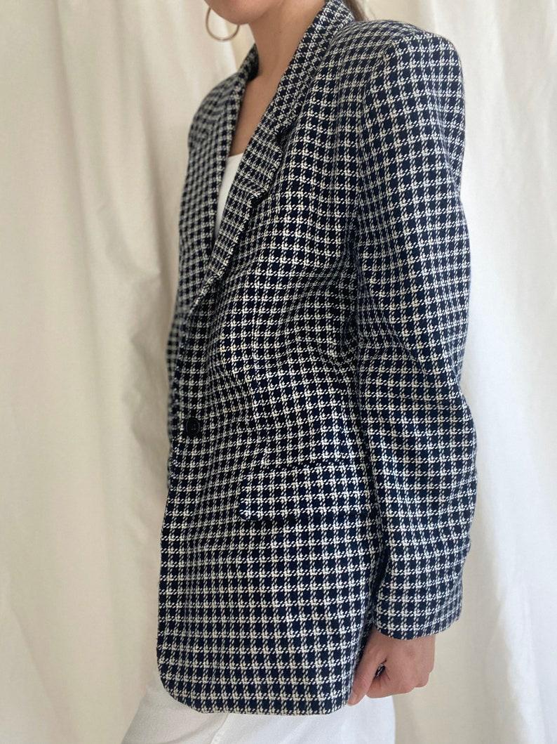 Vintage 90s checkered navy blue and white blazer size 14