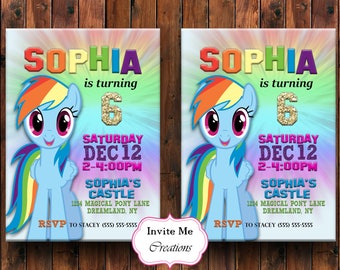 Rainbow Dash Birthday Invitation Invite My Little Pony Pinkie Pie