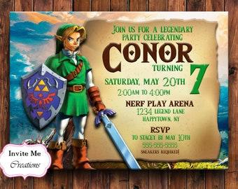 Legend Of Zelda Invitation Invite Link Birthday Video Game Sword
