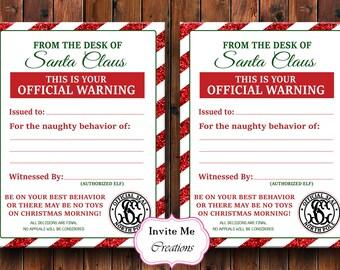 Elf Warning Letter, Naughty List Letter, Santa Warning Letter, Elf  Surveillance, Offcial Warning, North Pole Notice, Santa Letter, Christmas
