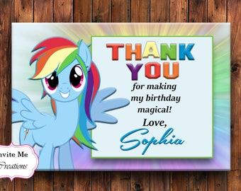 Rainbow Dash Thank You Card My Little Pony Invitation Birthday
