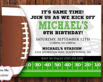 Football Birthday Invitation Invite Sports Sport Touchdown Helmet Theme Party