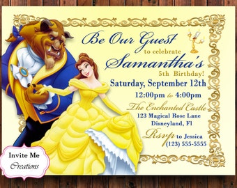 Beauty beast invite Etsy