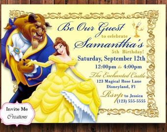 Beauty Beast Invite Etsy