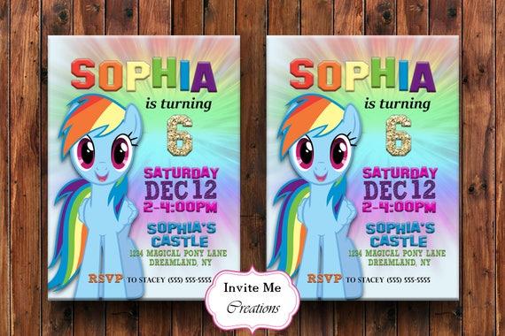 Rainbow Dash Birthday Invitation Invite My