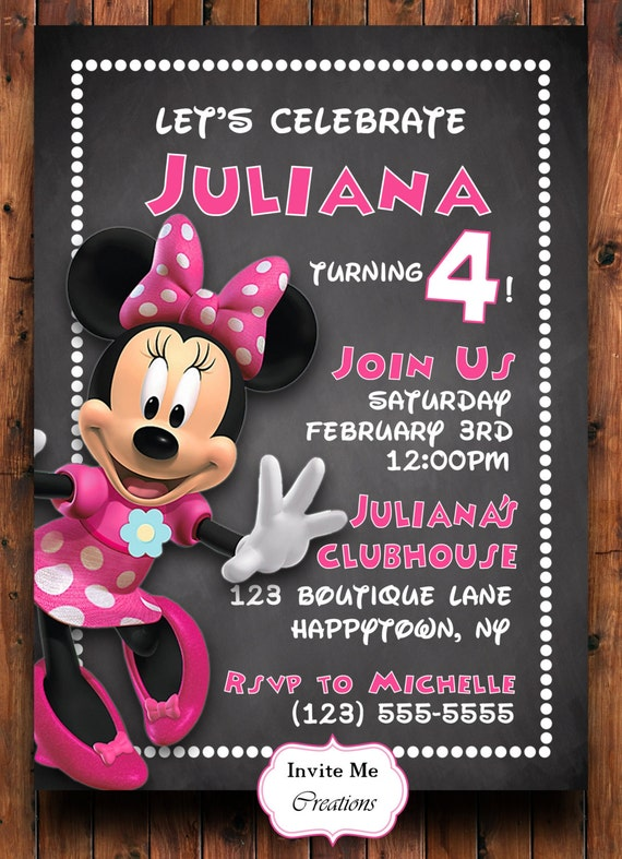 Minnie Mouse Birthday Invitation Invite Pink