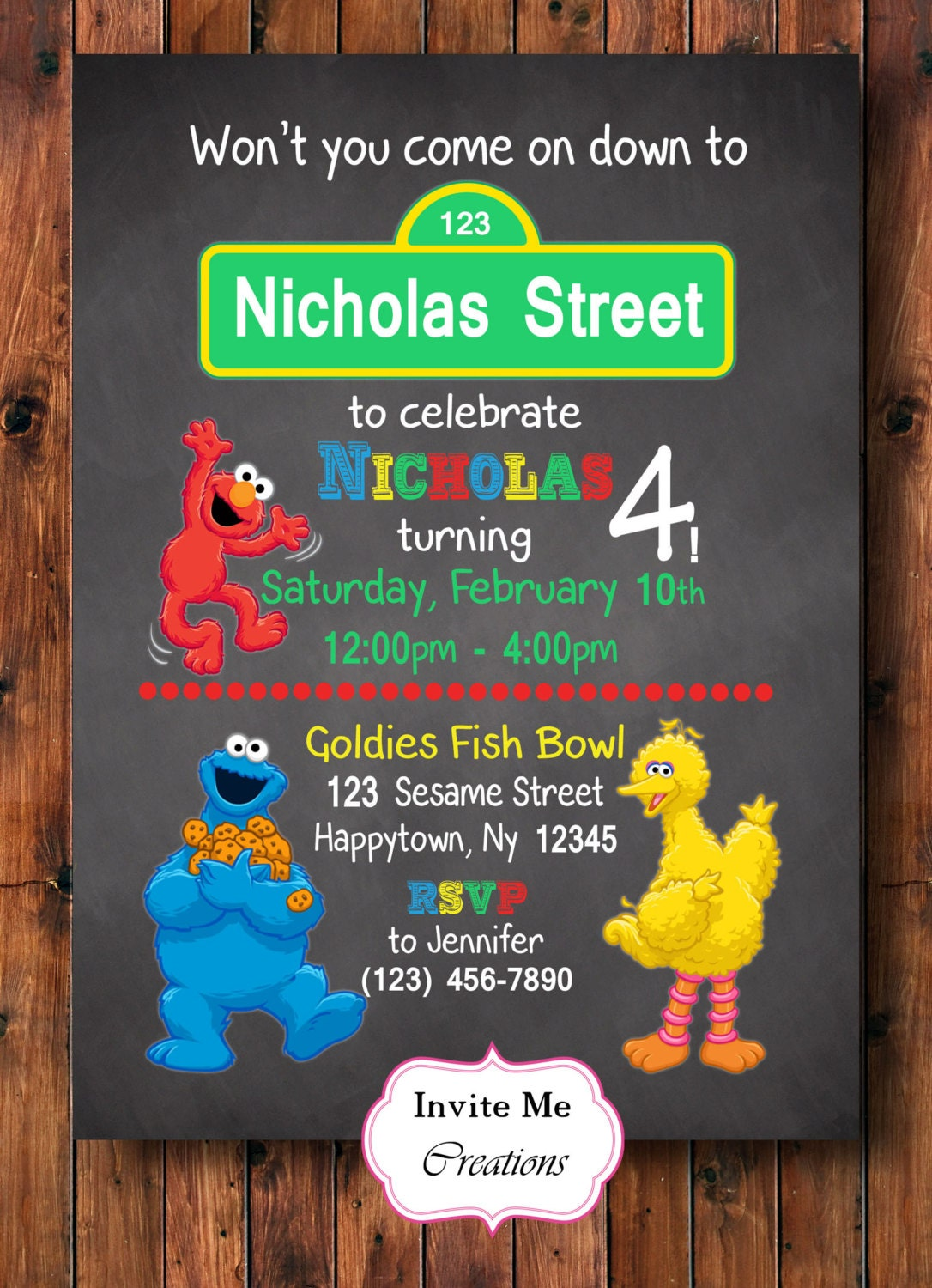 Sesame Street Birthday Invitation Elmo Invitation Big Bird