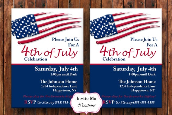 4th of july invitation fourth of july invite american flag etsy