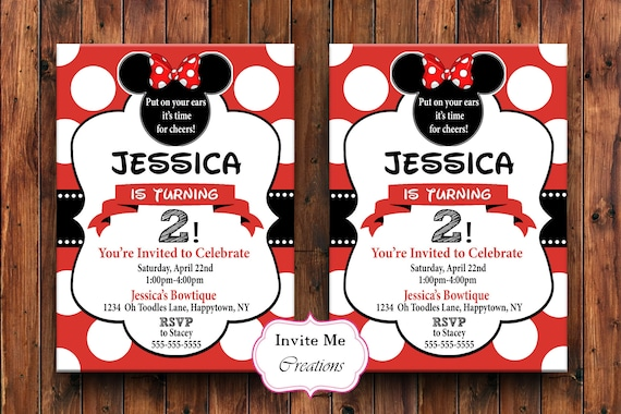 Minnie Mouse Birthday Invitation Minnie Mouse Invite Red Etsy