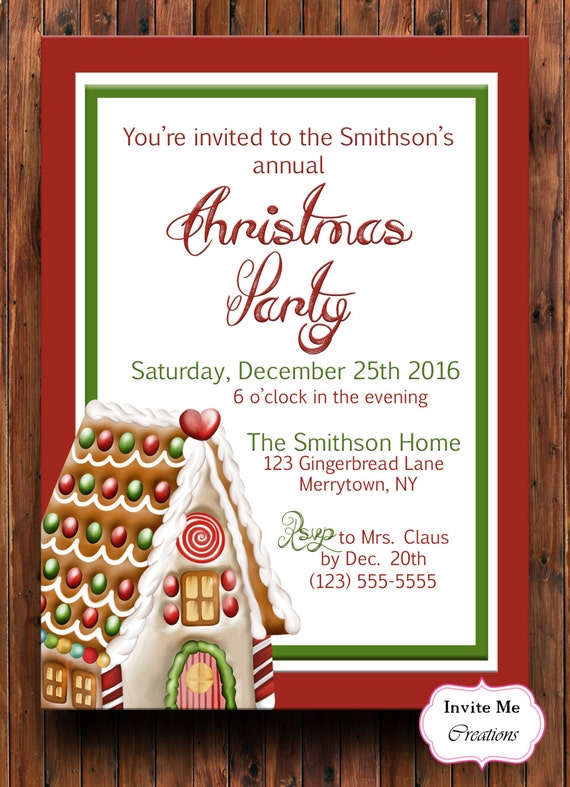 Christmas Party Invitation Christmas Invite Holiday Party Etsy