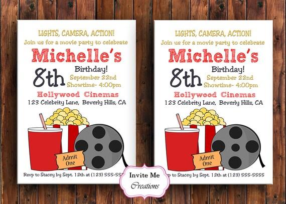 Movie Birthday Party Invitation Movie Invite Theater Etsy
