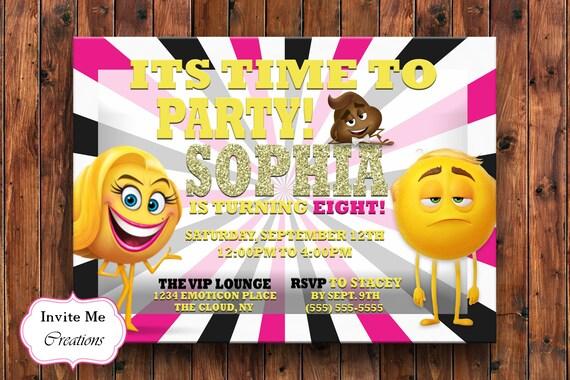 Emoji Movie Birthday Invitation Invite Meh