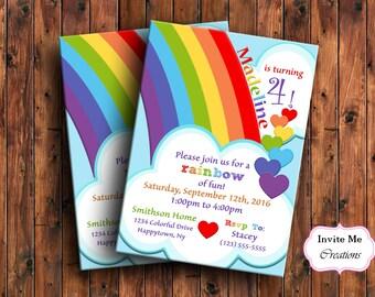 Rainbow Birthday Invitation, Rainbow Invitation, Heart Invitation, Kids Birthday Invite,  Childrens Invitation, Colorful Invitation, Cloud