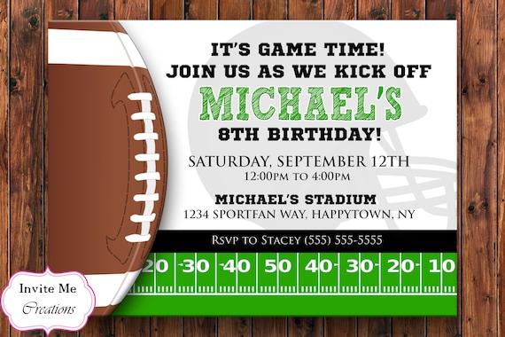 Football Birthday Invitation Football Invite Sports Etsy