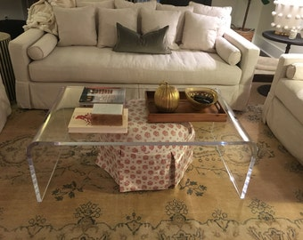 Acrylic coffee table cheap Design Clear Lucite Acrylic 1 Carousell Lucite Coffee Table Etsy