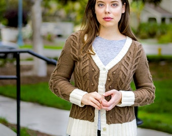 162334bb8df84 INSTANT DOWNLOAD PDF Knitting Pattern for Women s Cable Cardigan with Cable  and Bobbles Long Sleeves V-Neck One piece Seamless Brails