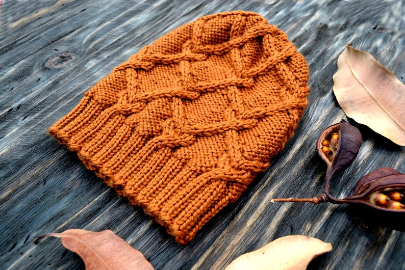 Christmas Gift Orange Knit Hat Slouchy Wool Hat Wool Hat Hat Orange Beanie Cabled Hat Unisex Hat Wool Blend Knitted Hat
