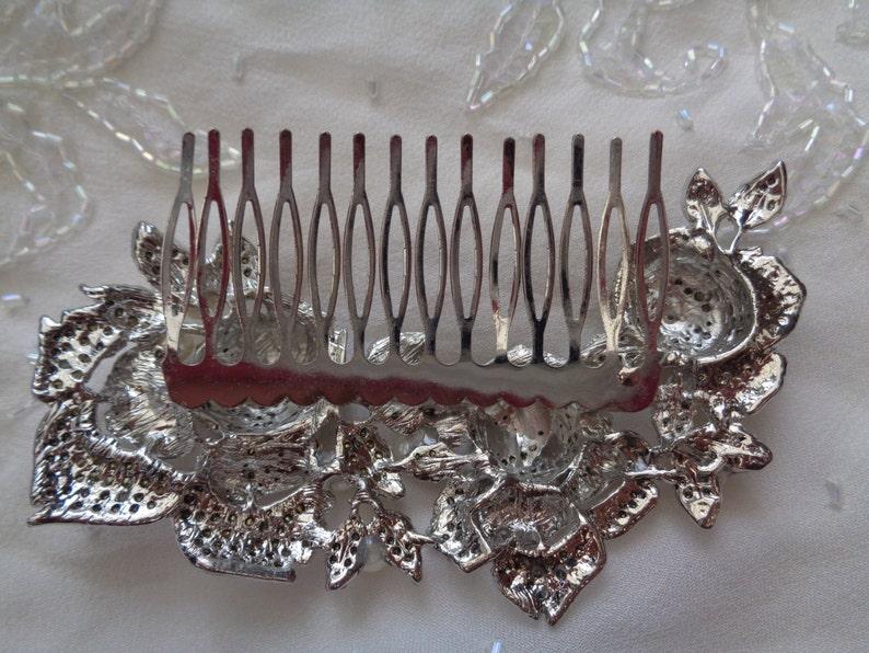 Silver 3 triple rose vintage flower pearls rhinestone crystal bridal hair comb