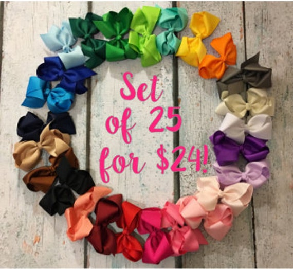 Little Girl Bows Alligator Clips,Girl Bows,Cheap Bows FREE SHIPPING Dollar Bows Baby Bows Set of 25- Bow Clips 5-inch bows Hair Bows
