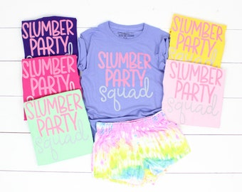 Slumber Party Squad Pajama Tee  Slumber Party Shirt   Sleepover Shirt   Custom Sleepover   Monogram   Personalized Tee  