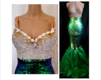 8846288783 2pc Bling Mermaid Costume with Rhinestone Bustier Corset Top AND Sequin  Skirt Tail