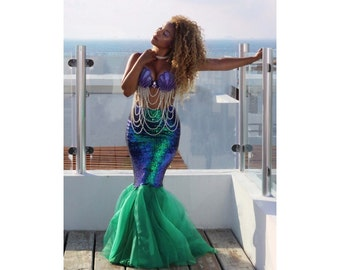 6e808d711431 2pc Adult Mermaid Costume, Bra and Sequin Mermaid Skirt Sold Seperate