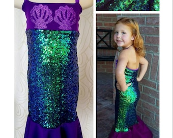 bbacf712c2835 Kids Mermaid Costume - Toddler Girls Mermaid Outfit - 2T/3T/4T/5T/6/8/10 -  Sequin Tail Dress
