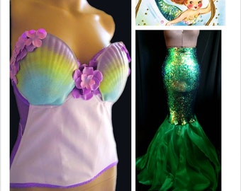 6deec6d66a 34DD 2pc Mermaid Costume with Shell Bustier Corset Top AND Sequin Skirt Tail