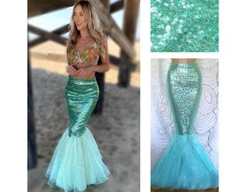 Aqua Blue Sequin Mermaid Tail Skirt Costume - Women's Halloween Costume