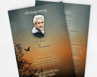 Funeral Program Keepsake with Sunset Design • Printable Celebration of Life Program • Online Memorial Service Program • Funeral Pamphlets