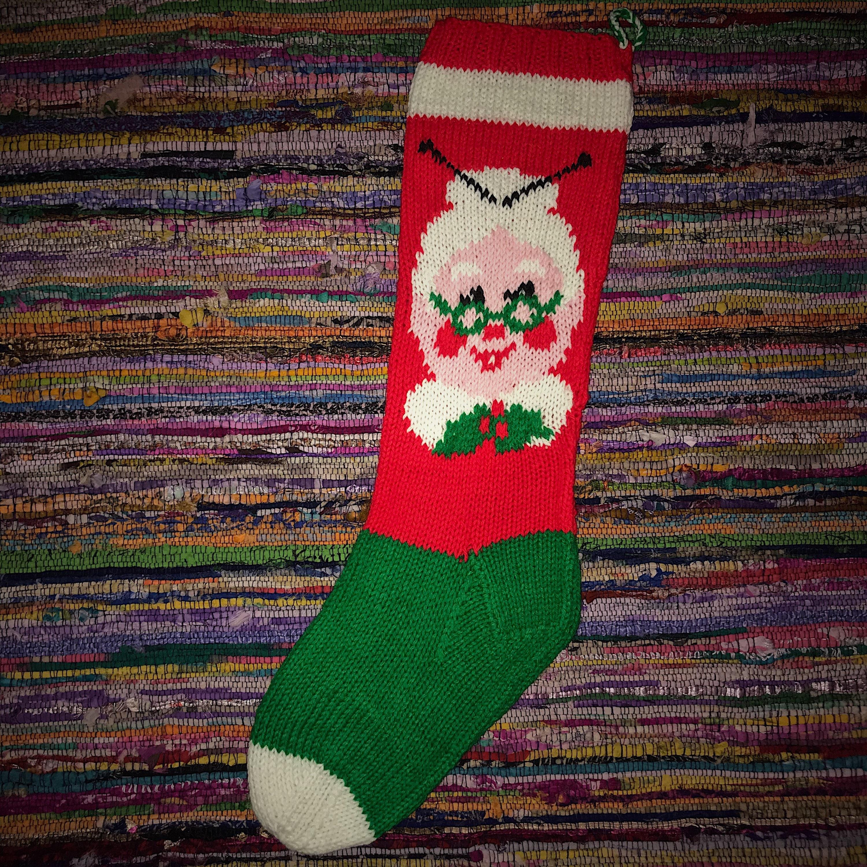 Vintage Christmas Stocking Christmas Stocking Knit | Etsy