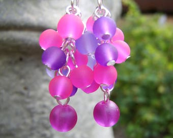 Fuchsia And Purple Frosted Glass Cluster Earrings. Hot Pink And Purple Earrings. Colour Pop Earrings. Bright Cluster Earrings. Colourful