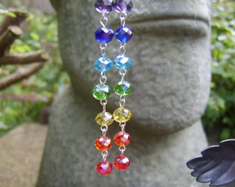 Rainbow Crystal Earrings. Long Earrings. Bead Earrings. Beaded Earrings. Colourful Earrings. Boho Earrings. Hippy Earrings. Rainbow Colours.