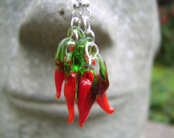 Glass Chilli Pepper Earrings. Chilli Pepper Earrings. Drop Earrings. Dangle Earrings. Red Chilli Pepper Earrings. Perfect Gift For a Cook.