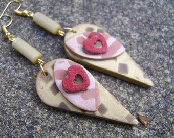 Polymer Clay Earrings. Beaded Earrings. Drop Earrings. Antique Gold Coloured Earrings. Heart Earrings. Stencilled Earrings. Rust Earrings.