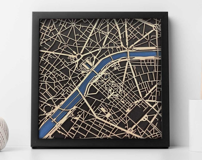 """Eiffel Tower Paris France 10""""x 10"""" Map w/Black Frame 