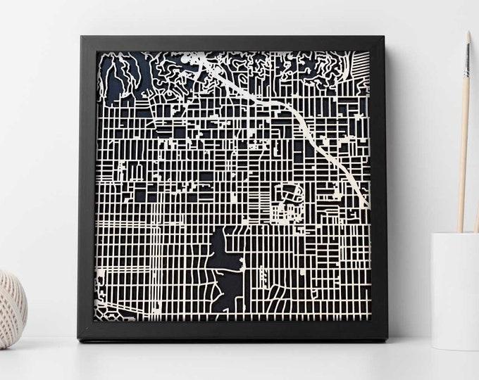 "Hollywood California Map | Minimal Birch Wood and Black Matboard 3D Laser Cut Map | Wall Art | 10""x 10"" | Home & Office Decor"