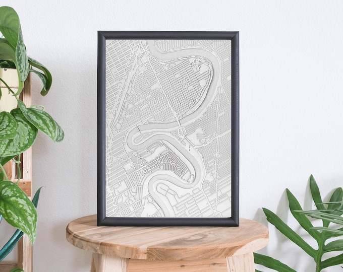 "Winnipeg Manitoba Minimal White 3D Laser Cut Map | Wall Art | 16""x 20"" Black Frame w/Hook 