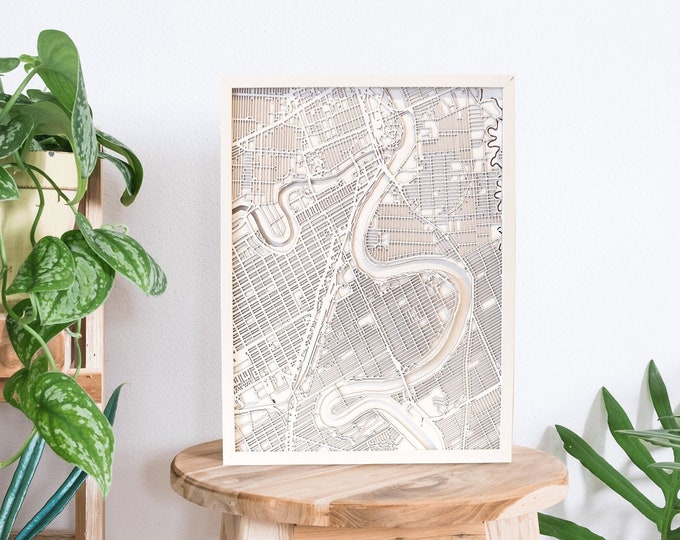 "Winnipeg Manitoba Minimal White 3D Laser Cut Map | Wall Art | 16""x 20"" White Frame w/Hook 