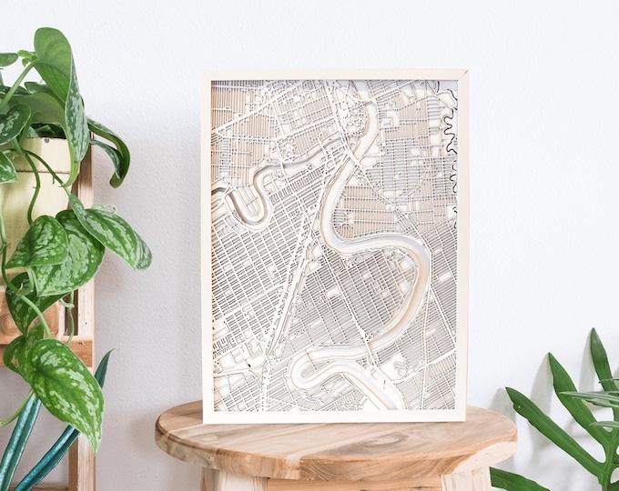 "Gimli Manitoba Minimal White 3D Laser Cut Map | Wall Art | 16""x 20"" White Frame w/Hook | Home and Office Decor | Lake Winnipeg Map"