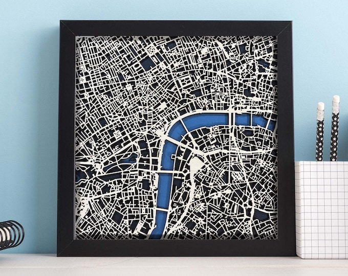 """London England Map w/Black Frame